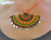 Items similar to Handmade Crochet Necklace, Traditional Turkish Lace, Crocheted Necklace on Etsy