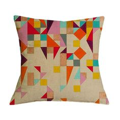 Colorful Geometric Graphic Pattern Pillow Case