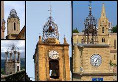 A chaque village , sa fleur de métal... En fer forgé, destructureaérée pour ne pas donner de prise au mistral, souvent dinspiration italienne, les campaniles coiffent lhorloge du village en Provence, situé surl'hôtelde ville ou leclocherdune église.
