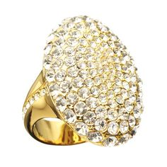 Glamorous gold-tone ring, which showcases a host of round crystals.