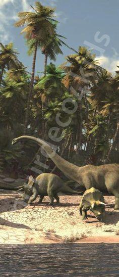 Dinosaurus Vlies deurposter Afmeting: 91 cm breed x 211 cm hoog Materiaal: vlies behang Lijm: wordt meegeleverd Deze mooie afbeelding is digitaal gedrukt op vliesbehang: Prijs 44,95