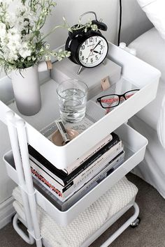 Use a mobile cart instead of a nightstand to maximize space in a tiny bedroom. Use a mobile cart instead of a nightstand to maximize space in a tiny bedroom. Use a mobile cart instead of a nightstand to maximize space in a tiny bedroom. Room Ideas Bedroom, Home Bedroom, Bedroom Apartment, Diy Ideas For Bedroom, Doorm Room Ideas, Bedroom Inspo, Apartment Interior, Bedroom 2018, Bedroom Table