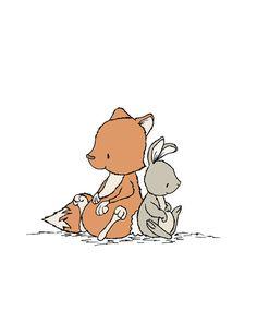 Cute illustrations - Woodland kwekerij Art--Leun op mij - Fox en Bunny