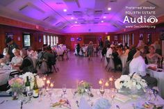 Elegant uplighting by Fourth Estate Audio warmed the room for dinner hour at the Lake Ellyn Boat House. #chicagoweddinglighting #chicagouplighting http://www.discjockey.org/lighting-uplighting-options/