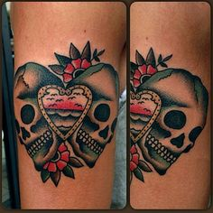 tattoo old school / traditional ink - last port skull (by Alessandro Lemme)