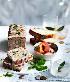Turkey and pistachio terrine with pickled nectarines
