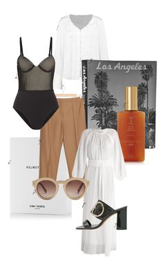 """Back in Los Angeles – and I couldn't be any happier! Time for another inspiration board. From top to bottom: (1) a white MINT & BERRY blouse, (2) a black textured swimsuit by LA PERLA (love the 50s vibe here), (3) a L.A. coffee table book, (4) brown tailored & OTHER STORIES pants, (5) """"SPF 4 Oil"""" by HAMPTON SUN, (6) HELMUT LANG Eau de Parfum samples, (7) round STELLA MCCARTNEY sunglasses, (9) this white maxi dress and (9) black mules by WHISTLES. More on www.THEDASHINGRIDER.com"""