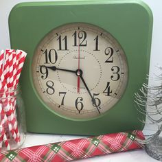 This cool retro kitchen vintage clock has been restored/painted at some point & works great with one AA Battery. It could hang on a wall or just
