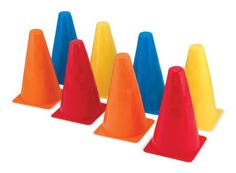8 Activity Cones, by Melissa & Doug Grab a stack of these sturdy plastic cones and head outside to play! Four different colors and two textures make every cone unique, so they're great for traditional outdoor games and so much more. Outdoor Toys, Outdoor Games, Outdoor Play, Backyard Play, Backyard Games, Sports Games For Kids, La Pile, Kegel, Thing 1