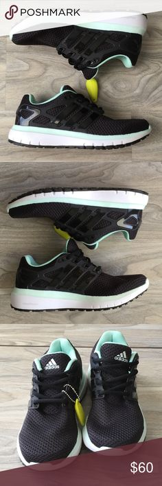 Adidas black blue energy cloud sneakers 6.5 NWT Adidas energy cloud wtc women's 6.5 NWT. Color is black and a bluish mint color. Very pretty and comfortable. There is foam soles. Will not come with a box. Great for running or long walks. adidas Shoes Sneakers