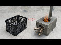 Genial, la idea de hacer estufas de leña libres de humo con cemento y cestas de plástico. - YouTube Diy Rocket Stove, Rocket Stoves, Cement Art, Cement Crafts, Plastic Baskets, Plastic Laundry Basket, Diy Projects Plans, Village House Design, Fire Cooking
