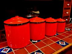 FRENCH RED ENAMELWARE Canister Set Rooster Red by vintagesouthwest