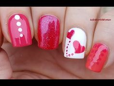 Pink & White VALENTINE'S DAY NAIL ART Using Dotting Tool & Sticker - YouTube