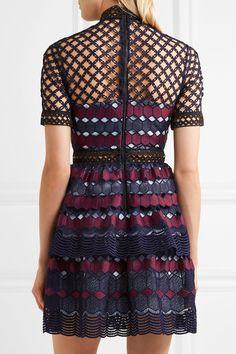 Self-Portrait - Ruffled Guipure Lace Mini Dress - Navy - UK14