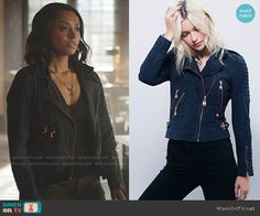 Bonnie's suede jacket with bronze zips on The Vampire Diaries.  Outfit Details: https://wornontv.net/58001/ #TheVampireDiaries  Buy it here: http://wornon.tv/36357