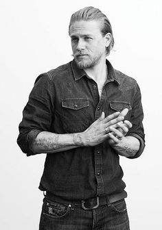 "#‎MCM‬ Charlie Hunnam Far from a ""Canadian Tuxedo"", denim on denim is a timeless look that works well for all seasons. Our Nudie Jeans Co Spring shipment is due in the store soon and we can't wait to pull this look off! #silverlake #mens #fashion #bucksanddoes"