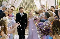 We saw the power couple first fall in love in Legally Blonde, but in the sequel, Emmett (Luke Wilson) and Elle (Reese Witherspoon) wed in true Delta Nu style, and in her signature color, of course. Photo courtesy of MGM