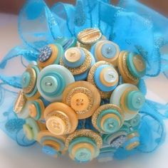 Gold and Turqouise Button Bouquet #HAFshop #handmade #artist $56.00