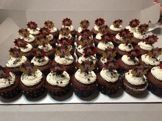 Chocolate Mickey cupcakes! Topped with crushed Oreos!