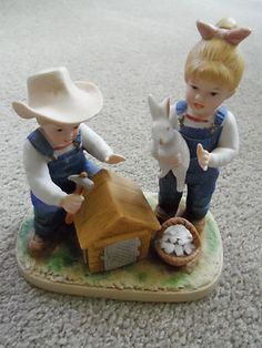 Homco Home Interiors Porcelain Demin Day Figurine Bunny's Hutch 1985 #1514  $22.95/FS