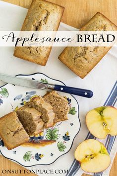 Easy Applesauce Bread | Hearty and moist quick bread that everyone in the family will love. Simple to make recipe that freezes well. Croissants, Dessert Bread, Scones, Bread Rolls, Four, Easy Healthy Bread Recipe, Quick Bread Recipes, Quick Meals, Easy Recipes