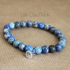 jasper bracelet, blue bracelet, blue beads bracelet, lotus flower bracelet, wrist mala, mala bracelet, silver bracelet,