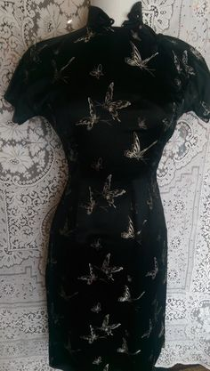 fc3e10b75e Vintage 60 s Black Mandarin Dress with Butterflies