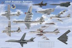 Laminated USAF Strategic Bombers and Recon 24x36
