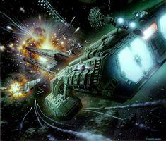 Battlestar Galactica Art ~by Tsuneo Sanda Spaceship Art, Spaceship Concept, Kampfstern Galactica, Best Sci Fi Shows, Battlestar Galactica 1978, Space Battles, Sci Fi Models, Sci Fi Ships, Starship Enterprise