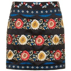 Women's Topshop Embroidered A-Line Skirt (£61) ❤ liked on Polyvore featuring skirts, bottoms, faldas, saias, satin skirts, satin a line skirt, a-line skirt, knee length a line skirt and embroidered skirt