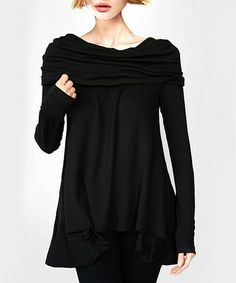 Another great find on #zulily! Black Cowl Neck Swing Top by A La Tzarina #zulilyfinds