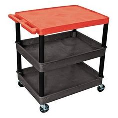 Utility Cart, H 35 1/2 In, Red Top by Luxor. $449.81. Utility Cart, Load Capacity 300 lb., Polyethylene Construction, Color Red Top Shelf, Black, Overall Length 32 In., Overall Width 24 In., Overall Height 35 1/2 In., Number of Shelves 3, Caster Size 4 In., Caster Type 4 Swivel, 2 with Lock, Caster Material Hard Rubber, Capacity per Shelf 100 lb., Distance Between Shelves 10 3/4 In., Shelf Length 32 In., Shelf Width 24 In., Lip Height 1/4 In.
