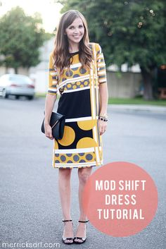 Dress tutorial - http://sewprettysewfree.blogspot.ca/2013/06/mod-shift-dress-drafting-and-sewing.html