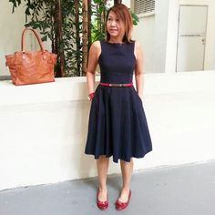 Midi Dress in Red and navy blue combi - instagram.com/christyc