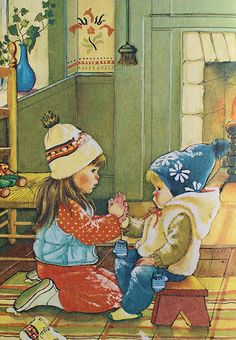 Eloise Wilkin's artwork in books we read early on.  The images reminds me of you children wearing snow clothes to bed because the house was so cold at night.