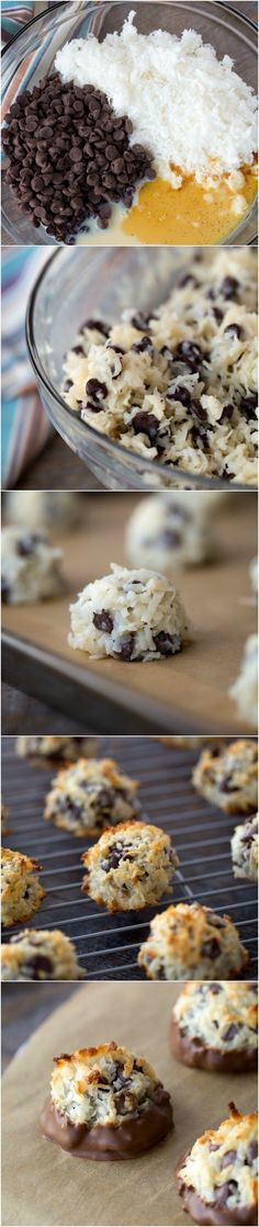 Coconut Chocolate Chip Macaroon Recipe - easy dessert - passover friendly Ingredients Needed to make Macaroons 14 oz. can condensed sweetened milk 2 cups chocolate chips Melting chocolate (optional) add caramel Low Carb Dessert, Oreo Dessert, Easy Desserts, Delicious Desserts, Yummy Food, Kakao Brownies, Baking Recipes, Cookie Recipes, Frosting Recipes
