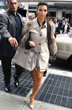 Kim Kardashian with a grey Hermes Birkin