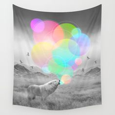 The Echoes of Silence Wall Tapestry. #photography #digital #other #digital-manipulation #black-and-white #abstract #animals #black-white #nature #wolf #wolves #howl