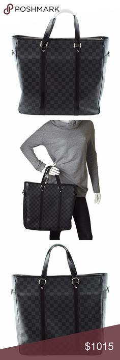 Louis Vuitton Tadao PM Damier Graphite (135251) •Exterior  / Interior Condition: Gently Used •Type: Tote •Material: Coated Canvas •Origin: France •Color: Black •Interior Lining: Fabric •Interior Color: Black •Hardware: Silver-Tone •Meas (L x W x H): 16x5x13 •Strap Drop: N/A •Handle Drop: 8 •Exterior Pockets: 0 •Interior Pockets: 2 •Odor: None •Production Code: DU3088 •- Minimal exterior imperfections - Scuffing to the corners and piping - Wear to the interior - Slight exposed piping along…