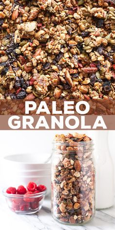 This Paleo granola is made of nuts, seeds, and dried fruit flavored with maple syrup and a hint of cinnamon. Clusters of crunchy, grain-free goodness!