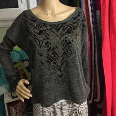 Miss Me Sweater ❤️ Gorgeous sweater with faux fur and gold studs. Lace accents the wrists and the back. In perfect condition! Miss Me Sweaters Crew & Scoop Necks