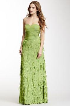 Dalia MacPhee Long Strapless Leaf Applique Dress