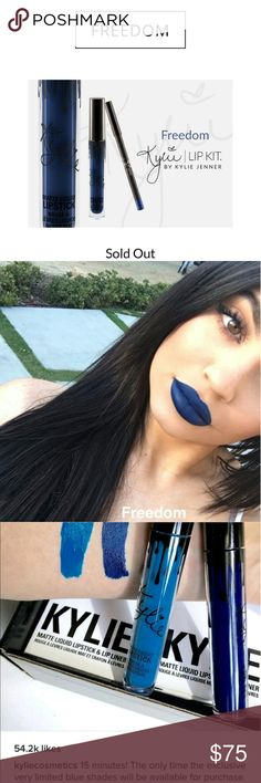 LIMITED EDITION FREEDOM On Hand! Kylie Lip Kit in the shade Freedom  This is LIMITED EDITION THIS WAS THE ONLY RELEASE it is on hand  This is a beautiful navy blue shade  Open to offers Kylie Cosmetics Makeup Lipstick