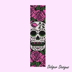 Sugar skull  Loom Bracelet Cuff Pattern SAVING buy 2  by LoomTomb, $6.50