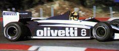 Marco Lucchinelli sulla Brabham BT54 BMW durante dei test privati al Paul Ricard nel 1985: