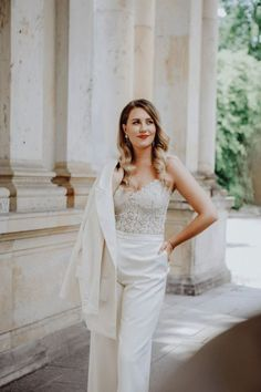 13 Impressive Strapless Boho Wedding Dress Fabulous Ideas.Simple Wedding Dress With Sleeves Lace Stylish Berlin Elopement Inspiration Anastasia Conze Weddings and Events Adela Dupetit von O Dear 21 Set in Berlin the bride in this elopement inspiration is so chic in her swanky white crepe suit and sexy lace bodice. #bridalmusings #bmloves #elopment