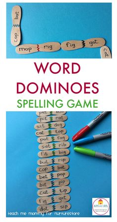 Homemade word dominoes game for CVC words for hands-on learning Homemade word dominoes spelling game to teach cvc word patterns. Fun spelling game and spelling center for cvc words. Spelling Activities, Kindergarten Literacy, Literacy Activities, Literacy Centers, Leadership Activities, Listening Activities, Spelling Games For Kids, Reading Games For Kids, Vocabulary Games