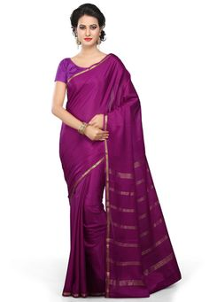 Dark Magenta Pure Mysore Silk Saree with Blouse