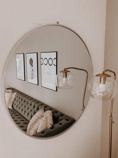 Charcoal Sofa, Bar Cart Decor, Take You Home, Black Sofa, New Living Room, Round Mirrors, Neutral, House Design, Interiors