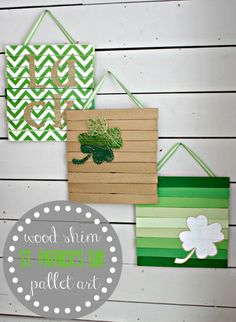 DIY Wood Shim Pallet Art for St Patrick's Day - Fun & Creative Crafts for Holiday Decorations March Crafts, St Patrick's Day Crafts, Holiday Crafts, Kids Crafts, Wood Crafts, St. Patrick's Day Diy, St Patricks Day Crafts For Kids, Diy St Patricks Day Decor, St Patrick's Day Decorations